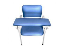 Cadeira para Coleta de Sangue Estofada Cap. 150kg -Azul Claro
