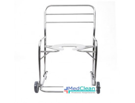 Cadeira de Banho Obeso Aço Inox Rodízios Giratórios Cap. 150kg