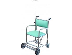 Cadeira de Rodas Hospitalar em Aço Inox com Suporte de Soro