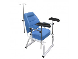 Cadeira Coleta de Sangue Estofado Injetado, Braçadeiras injetadas Reguláveis, Suporte de Soro Inox