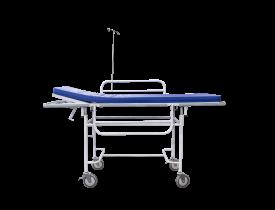Carro Maca Hospitalar Leito em Chapa, Grades, Suporte de Soro Inox e Rodízios