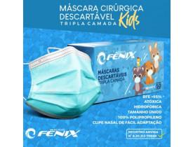 Máscara Descartável Infantil Azul Tripla Camada com Elástico cx50un Fênix Mundial Kids