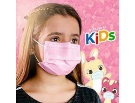 Máscara Descartável Infantil Rosa Tripla Camada com Elástico cx50un Fênix Mundial Kids