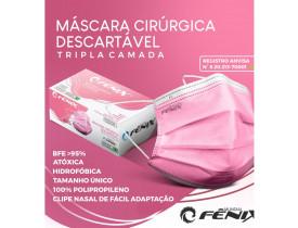 Máscara Descartável Rosa Cirúrgica Tripla Camada com Elástico cx50un Fênix Mundial