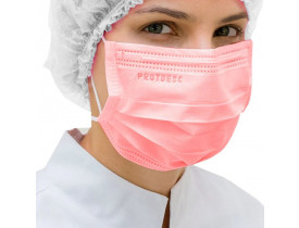 Máscara Descartável Protdesc Rosa Cirúrgica Tripla Camada c/ Elástico Cx 50un
