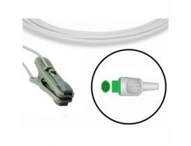 Sensor de Oximetria Universal Y com Clip Orelha - Conector Redondo Ponta Verde 7 Pinos -Compatível Bionet